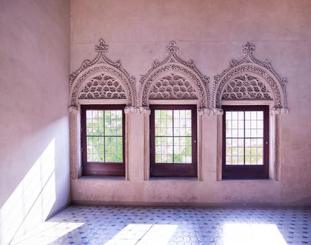 zaragoza: ZARAGOZA, SPAIN, JUNE 9, 2014: Interior details of famous palace of aljaferia in spanish city zaragoza. Editorial
