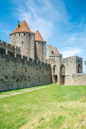 Entrance to the Cite de Carcassonne, a medieval citadel in France - Languedoc, France