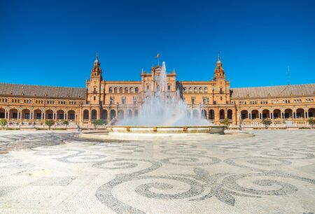 spanish architecture: Spain Square (Plaza de Espana) is in the Public Maria Luisa Park, in Seville. It is a landmark example of the Renaissance Revival style in Spanish architecture. Stock Photo