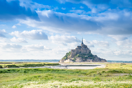 historic place: Mont St Michel world famous tourist attraction in Normandy, France - Famous historic place of French culture and heritage