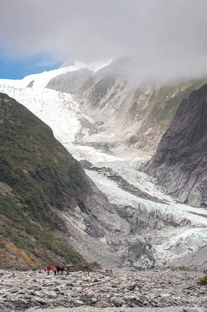 franz josef: Franz Josef Glacier in Westland National Park on the West Coast of New Zealands South Island. Southern Alps mountains.