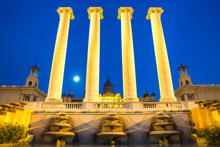 pillar: The Four Columns, created by Josep Puig i Cadafalch, is on the place in front of Museu Nacional dArt de Catalunya, Barcelona, Spain