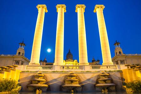 roman pillar: The Four Columns, created by Josep Puig i Cadafalch, is on the place in front of Museu Nacional dArt de Catalunya, Barcelona, Spain