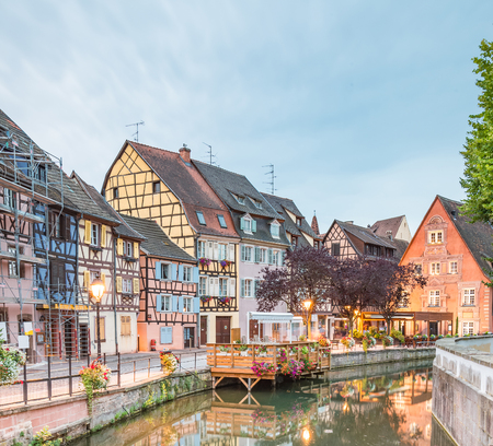 petit: Colmar, Petit Venice, water canal and traditional colorful houses. Alsace, France. Long exposure.