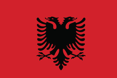 double headed: Flag of the Albania. Vector illustration.