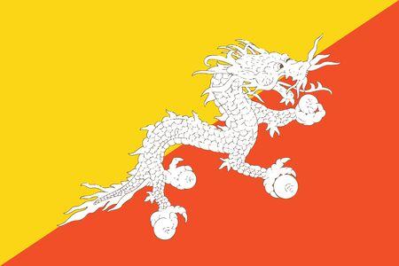 bhutan: Flag of Bhutan. Vector illustration.