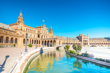 spanish architecture: Spain Square (Plaza de Espana) is in the Public Maria Luisa Park, in Seville. It is a landmark example of the Renaissance Revival style in Spanish architecture. Editorial