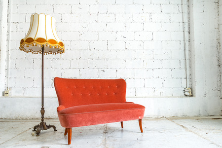 sofa: Classical style Armchair sofa couch in vintage room with desk lamp