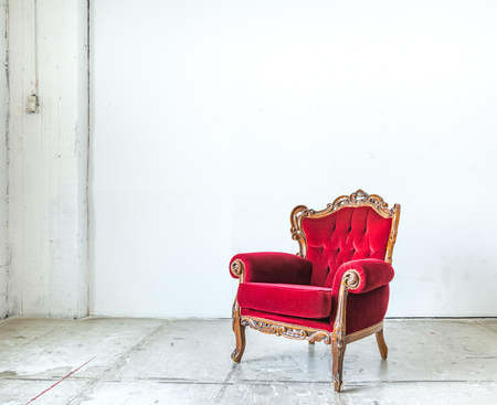 antique: Classical style Armchair sofa couch in vintage room Stock Photo