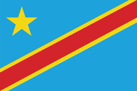 zaire: Flag of Democratic Republic of the Congo. Vector illustration.