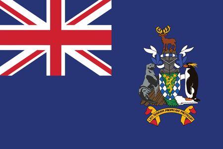 bocadillo: Bandera de Georgia del Sur y las islas Sandwich del Sur. Ilustración del vector.