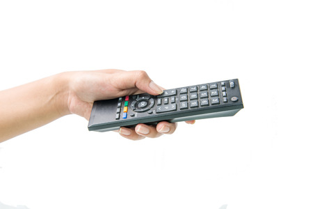 remote: Hand with remote control on white background