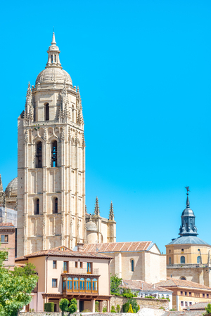 out of town: old town of Segovia, the tower that stands out is part of the cathedral, Castilla Leon, Spain