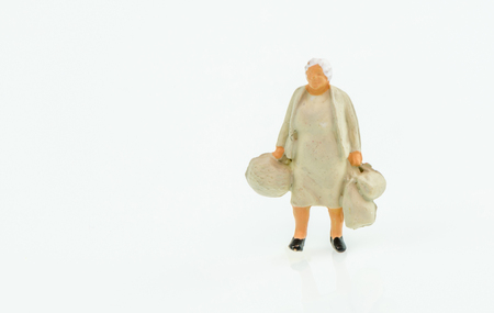 business traveler: Miniature people business traveler concept on white background with a space for text