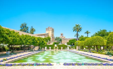 The famous Alcazar with beautiful garden in Cordoba, Spain