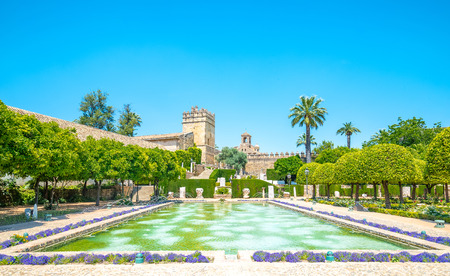 The famous Alcazar with beautiful garden in Cordoba, Spain