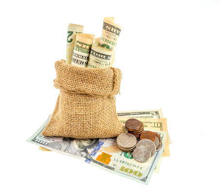 tightened: Money in the bag  on a white background