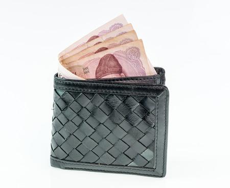 batch of euro: Korea WON in leather wallet on white background