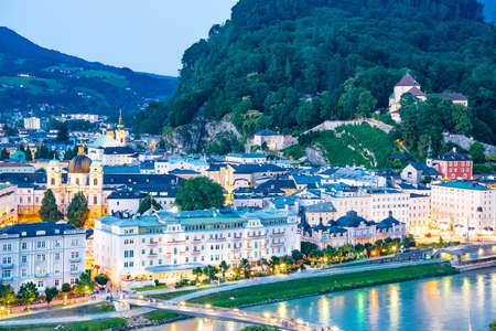 residenz: Panoramic aerial view skyline of churches in Old town of Salzburg, Austria