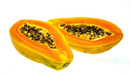 cranny: fresh papaya fruit on white background Stock Photo