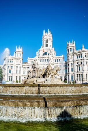 cibeles: Plaza de la Cibeles (Cybeles Square) - Central Post Office (Palacio de Comunicaciones), Madrid, Spain. Stock Photo