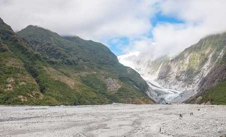 westland: Franz Josef Glacier in Westland National Park on the West Coast of New Zealands South Island. Southern Alps mountains.