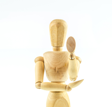 proportions of man: Wooden figure walking  on white background