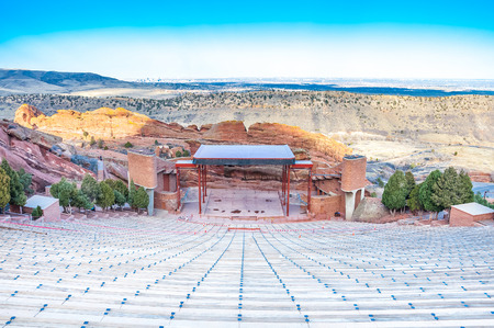 red rocks: Historic Red Rocks Amphitheater near Denver, Colorado Stock Photo