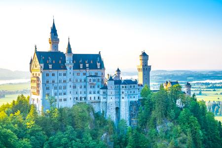 neuschwanstein: Picturesque landscape with the Neuschwanstein Castle. Germany Editorial