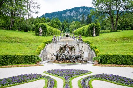 king neptune: Landscape with fountain in the Linderhof Palace. Germany Editorial