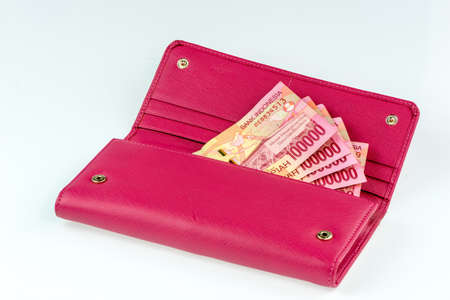 batch of euro: Money in Pink wallet on a white background.