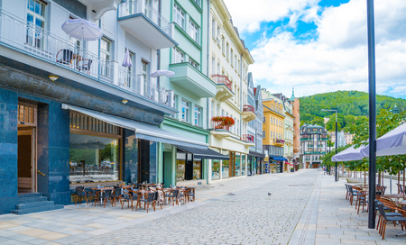 World-famous for its mineral springs, the town of Karlovy Vary (Karlsbad) was founded by Charles IV in the mid-14th century. Stock Photo