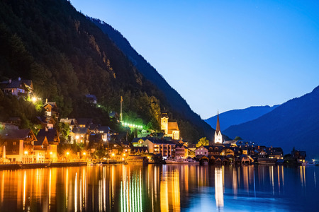 austrian village: Hallstatt village in Austria, Austria. Hallstatt is historical village located in Austrian Alps at the Hallstatter lake Stock Photo