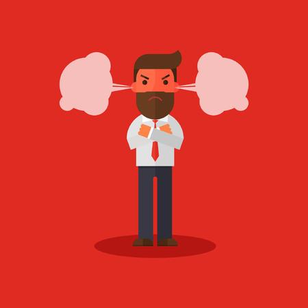 Uomo d'affari arrabbiato arrossato dalla rabbia e un vapore gli esce dalle orecchie