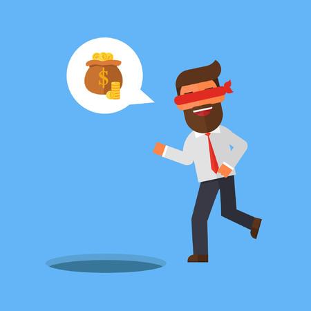 Blindfolded businessman walking to find money with pit hole Illustration