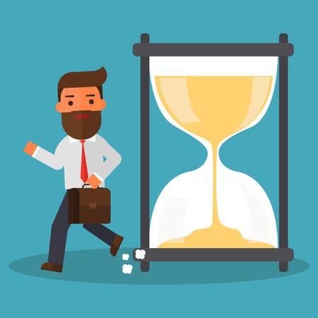 Business man getting late Ilustração