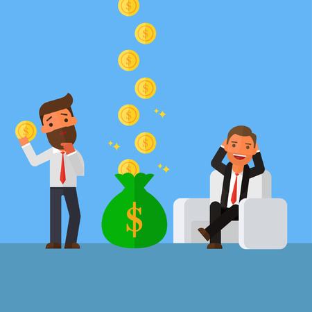 リラックス ビジネスマンがビジネスマンよりももっとお金を稼いでいます。  イラスト・ベクター素材