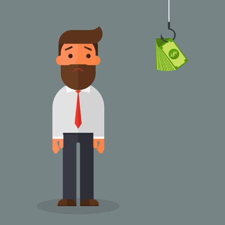 Surprised Businessman Looking at the Money on Hook Illustration