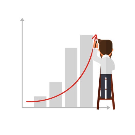 scaling ladder: Business man standing on ladder drawing growth chart on wall