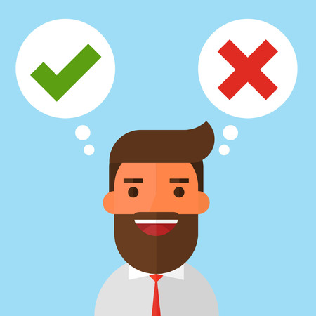 Businessman and speech bubbles with checkmarks Illustration