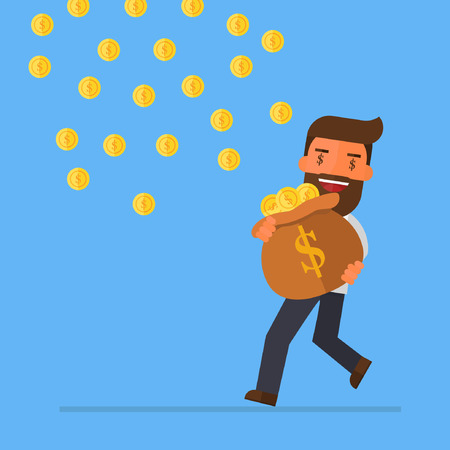 Businessman carrying money bag to catch falling coins