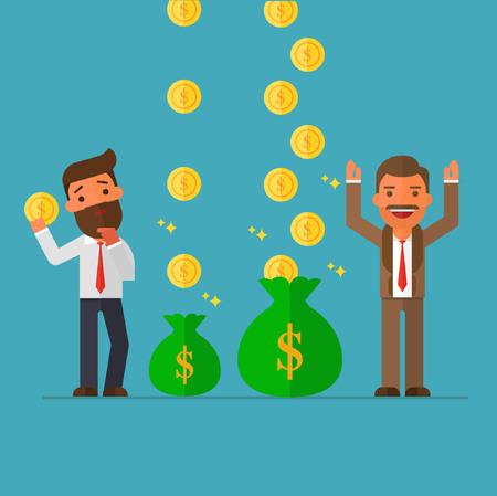 ビジネスマンがビジネスマンよりももっとお金を稼いでいます。  イラスト・ベクター素材