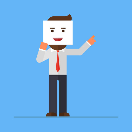 Businessman holding smiling face card sheet with happiness emotion