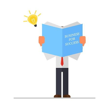 Businessman holds book in his hands. Illustration