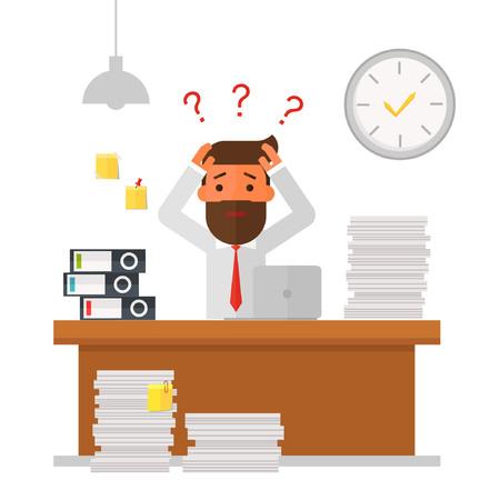 Geschäftsmann überarbeitet und unter Stress