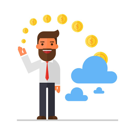 future earnings: Businessman invest money in cloud Illustration