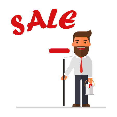 Businessman is drawing word Sale