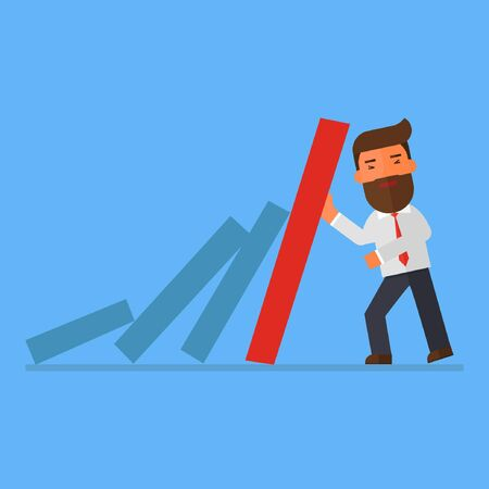 businessman resist dominos falling