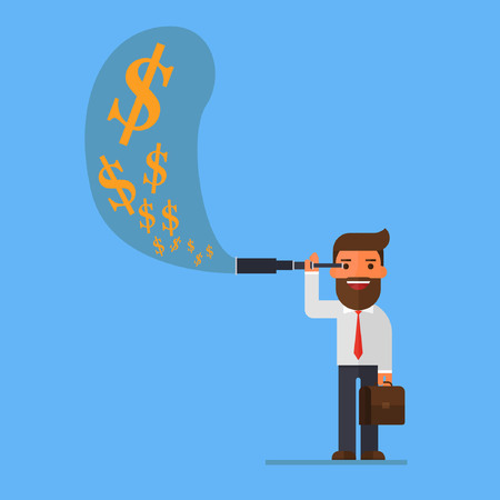 opportunity sign: Businessman using telescope see money