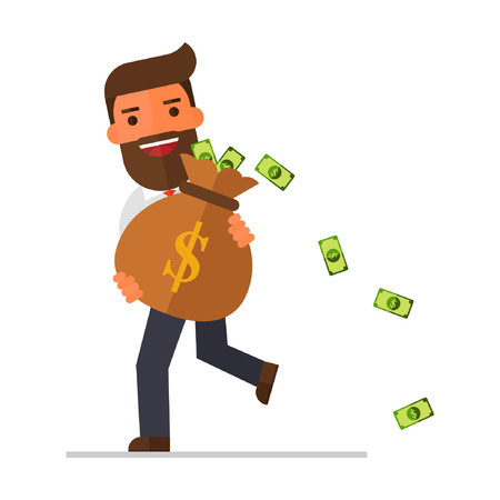 businessman walking & carrying big heavy sack full of cash money